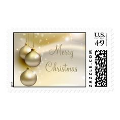 Gold Christmas Balls on Gold Postage