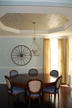 tray ceiling design & medallion only in the dark brown and ivory