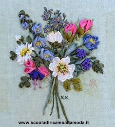 Silk ribbon embroidery flowers by Fashion embroidery school in Rome, for info end courses visit: www.scuoladiricamoaltamoda.it