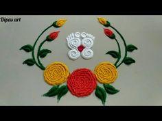 Simple Rangoli Border Designs, Easy Rangoli Designs Diwali, Indian Rangoli Designs, Rangoli Designs Latest, Rangoli Designs Flower, Free Hand Rangoli Design, Small Rangoli Design, Colorful Rangoli Designs, Rangoli Ideas