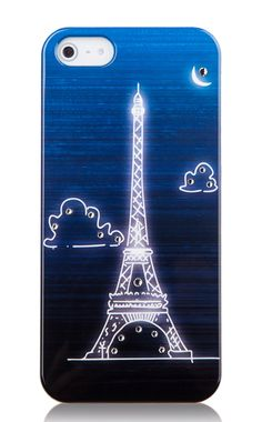 Eiffel Tower Pattern Noctilucence Phone Case With Rhinestone Detail For IPhone 5/5S