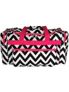 Black Chevron with Pink Trim Duffle Bag