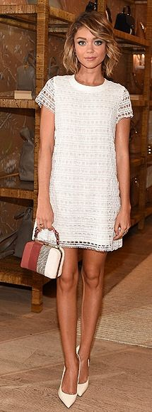 Sarah Hyland in a white Tory Burch crochet dress