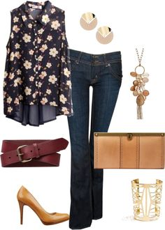 """""""Floral top"""" by dkwynn ❤ liked on Polyvore"""