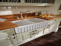 farmhouse kitchen | Wooden Countertop Double Farmhouse Kitchen Sinks Like wood counters but darker love the sink