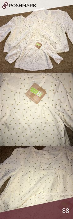 Crazy 8 Sister Matching Shirts 4T, 2T, & 6-12M Cream Colored with Gold Polka Dots 6-12M NWT the other 2 worn once for pictures Like New Condition - Price is for One Crazy 8  Shirts & Tops Blouses