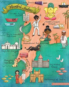 Here's my first illustrated map for the The crazy amazing city of Mumbai:) I know the map doesn't include the entire city… Mumbai Map, Mumbai City, Indian Illustration, Car Illustration, Ganesh, Indian Art Gallery, City Painting, India Travel, India Map