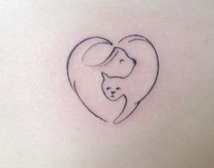 Love cat & dog tattoo