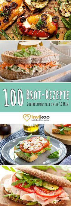 100 Brot & Sandwich Rezepte für einen abwechslungsreichen Start in den Tag. Mischkost - Vegetarisch - Vegane Rezepte zum Abnehmen auf invikoo.de