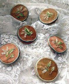 Georgian Era Hand Embroidered Silk Buttons.