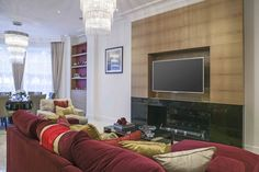Luxury Red and Gold Living Room Interior | JHR Interiors