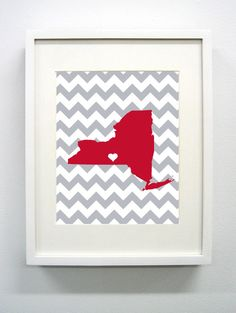 Ithaca New York State Giclée Print  8x10   Red and by PaintedPost, $15.00 #paintedpoststudio - Cornell University - Big Red- What a great and memorable gift for graduation, sorority, hostess, and best friend gifts! Also perfect for dorm decor! :)