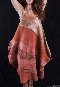 felt dress merinn wool silk eco print beckie galanopoulou
