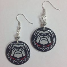 University of Georgia Bulldogs Dawgface earrings, red and black Athens Gameday…