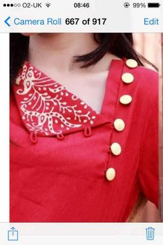 Looking for beautiful neck designs for plain Kurtis/Kurthas ? Here are 20 flattering designs that can add a dash of style to your kurti style. Salwar Neck Designs, Kurta Neck Design, Neck Designs For Suits, Neckline Designs, Kurta Designs Women, Dress Neck Designs, Sleeve Designs, Blouse Designs, Kurti Patterns