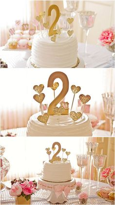 Check out this sweet, sophisticated cake! We love how the cake stand employs the color scheme, with the wonderful hearts adorning the top of the cake. How sweet! Source: Sweet Bloom Photography via Pretty My Party