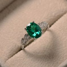 Lab emerald ring oval cut May birthstone sterling by LuoJewelry