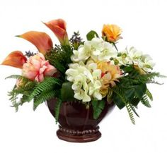 Colorful Silk Tropical Arrangment - Protea, Calla Lily and Hydrangea ARWF1330