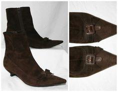 Miu Miu chocolate brown suede short boots / di FrugalFairyVintage