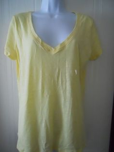 New York and Company Women's Top Size Large (L) V Neck Yellow Short Sleeve New #NewYorkCompany #KnitTop