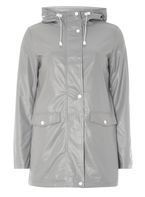 Womens Grey Stripe Lined Raincoat- Grey