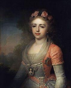 Alexandra Pavlovna, Portrait by Vladimir Borovikovsky, 1796. Gatchina Palace Museum, St Petersburg, Russia