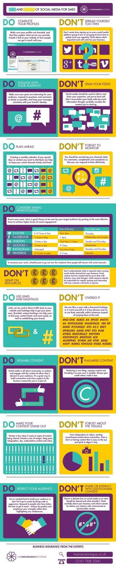 Dos and Don'ts of SocialMedia for Startups infographic