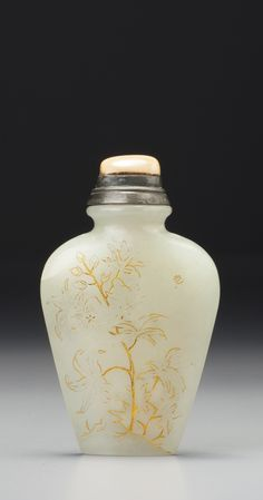 AN INSCRIBED GOLD-PAINTED WHITE JADE 'MALLOW' SNUFF BOTTLE<br>QING DYNASTY, QIANLONG / JIAQING PERIOD | lot | Sotheby's