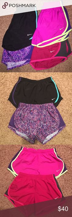 Nike Tempo Shorts Four pair of Nike Tempo Shorts.  Size medium in youth girls.  Good condition.  No stains, rips, fade, or tears.  My daughter LOVES Tempo Shorts and has a small collection! 🙂 Trying to get her to part with the ones that don't fit anymore.  $12/pair or all four pair for $40. Nike Bottoms Shorts