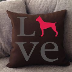 """Our super soft Boxer Love pillow is 16"""""""" x16"""""""" in size with zipper cover. Printed on both sides. Made in USA. Spot clean."""