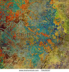 art abstract grunge graphic background in orange and green blots by Irina_QQQ, via ShutterStock