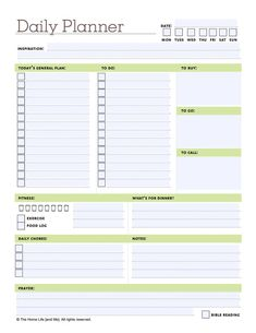 excel daily planner templates