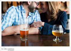 San Diego taphouse engagement photography by La Vida Creations lifestyle photographers