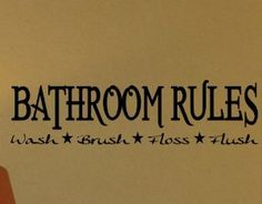 "Amazon.com: WallStickerUSA Medium ""BATHROOM RULES Wash Brush Floss Flush "" Quote Saying Wall Sticker Decal Transfer Film 17x25: Home & Kitchen"