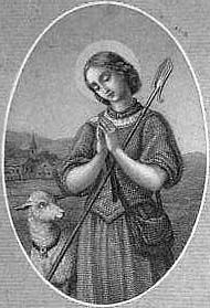 Saint Genevieve pray for us and Paris, France, Women's Army Corps and against disasters.  Feast day January 3.