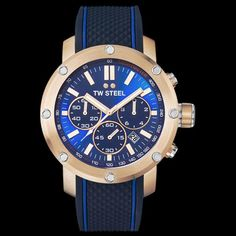 TW STEEL GRANDEUR TECH 48MM ROSE GOLD BLUE DIAL CHRONO SILICON WATCH