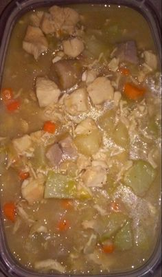 Chunks of white meat chicken mixed in chicken broth with yucca, coyote squash, carrots, green plantains, and cabbage.