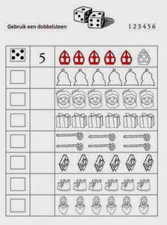 Miranda's lesmaterialen : gr 1/2 (Sinterklaas) werkblad rekenen met dobbelsteen