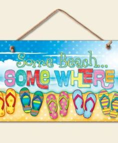 New-Some-Beach-Somewhere-Sign-Flip-Flops-Tropical-Wall-Decor-Coastal-Picture-Art-0