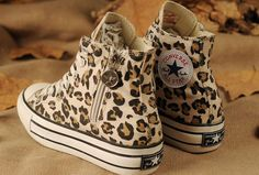 Converse All Star Platform Leopard Print Zipper Chuck Taylor High Tops Damen Mädchen Beige Canvas Sneakers