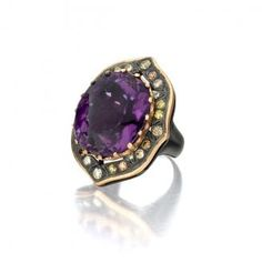 Ashleigh Amethyst Ring.  18K Gold and Pave Diamond.