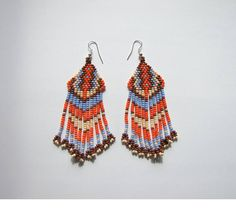 Beaded ethnic earrings / modern earrings / boho earrings /