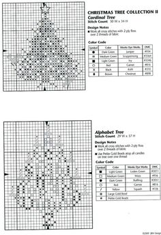 "Christmas Tree Collection II • Charts for ""Cardinal Tree"" and ""Alphabet Tree"""