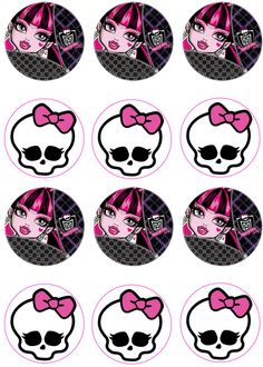 1 sheet of Monster High images on edible frosting paper. Each image is about round, good for cupcakes or chocolate covered oreos. Monster High Cupcakes, Festa Monster High, Monster High Birthday, Monster High Party, Spa Birthday Parties, 4th Birthday, Draculaura, Scary Wallpaper, Cake Supplies