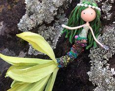 Green Little Mermaid Doll, Mermaid Bendy Doll, Mermaid Ornament, Under The Sea Theme, Ocean Beach Inspired Gifts, Mermaid Flower Fairy Doll