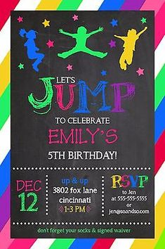 Jump bounce #house #trampoline park #birthday party invitation add photo, View more on the LINK: http://www.zeppy.io/product/gb/2/201452588671/
