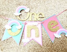 Rainbow smash cake set, pastel smash cake set, gold glitter first birthday highchair banner - Pink Cake Decoration Ideen Glitter First Birthday, Rainbow First Birthday, First Birthday Party Themes, Baby Birthday Cakes, Girl First Birthday, Unicorn Birthday Parties, Birthday Decorations, Rainbow Smash Cakes, Cloud Party