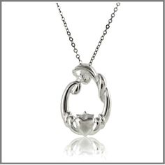 nbsp  The Mothers Claddagh Necklace is sterling silver It measures approximately 24mm long and is bright polished The Mothers Claddagh Necklace comes on an 18 inch chain  Exclusivenbspby The Irish Jewelry Company Every jewelry gift from The Irish Jewelry Company comes gift wrapped in our signature style a simple white glossy gift box sealed with a satin emerald green ribbon and our gold label Included at no additional charge is an Irish Blessing toast or story card If this is a gift included…