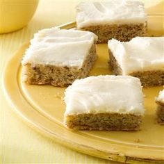 Frosted Banana Bars Recipe -These bars are always a hit at potlucks here in the small rural farming community where my husband and I live. I also like to provide them for coffee hour after church. They're so moist and delicious that wherever I take them, they don't last long. —Karen Dryak, Niobrara, Nebraska