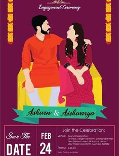 6 Illustrators Who Can Help You Design The Cutest Save The Dates! Engagement Invitation Cards, Indian Wedding Invitation Cards, Wedding Invitation Background, Wedding Invitation Video, Creative Wedding Invitations, Engagement Cards, Printable Wedding Invitations, Indian Engagement, Save The Date Invitations